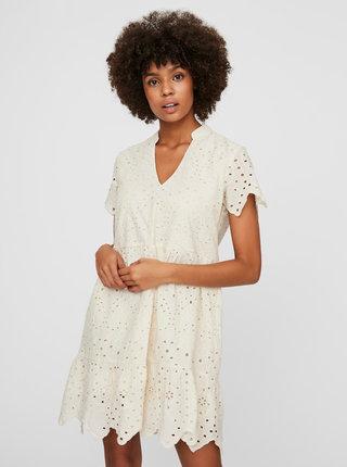 Krémové voľné šaty s madeirou VERO MODA Norah