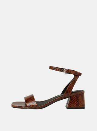 Hnědé sandálky s hadím vzorem VERO MODA Liza