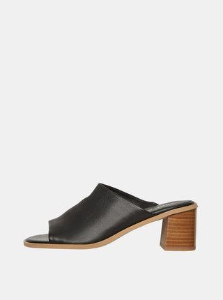 Černé kožené pantofle VERO MODA Jane