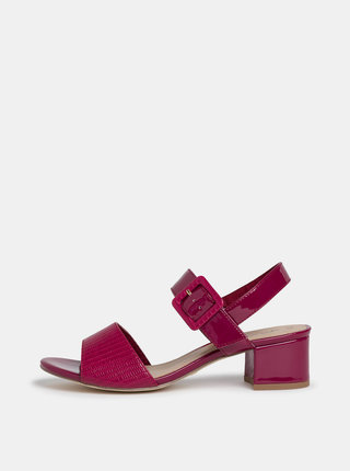 Tmavoružové lesklé sandálky s hadím vzorom Tamaris