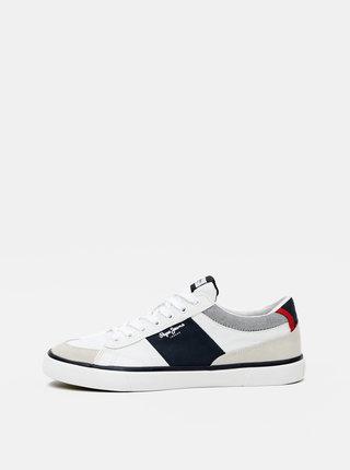 Biele pánske tenisky so semišovými detailmi Pepe Jeans