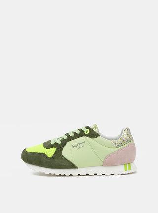 Zelené dámské semišové tenisky Pepe Jeans