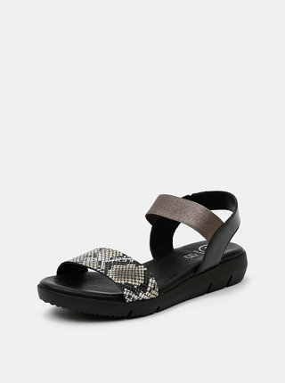 Černé kožené sandálky s hadím vzorem OJJU