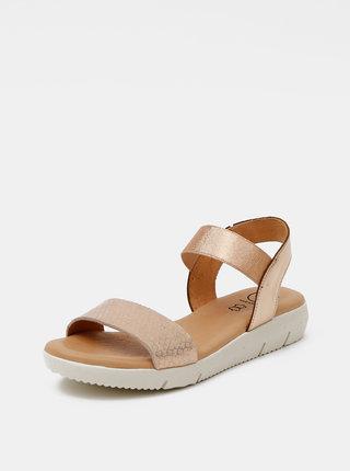 Kožené sandálky v růžovozlaté barvě s hadím vzorem OJJU