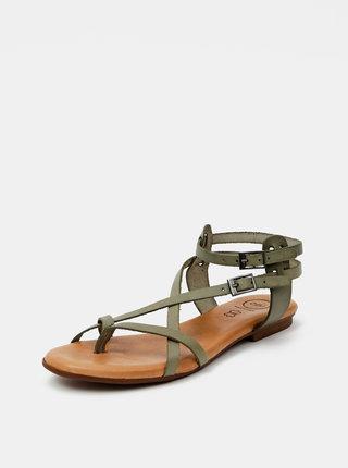 Zelené kožené sandály OJJU