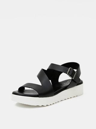 Čierne kožené sandálky OJJU