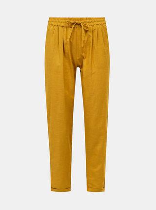 Hořčicové kalhoty s příměsí lnu ONLY Viva