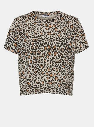 Béžové krátké tričko s leopardím vzorem Noisy May Elly