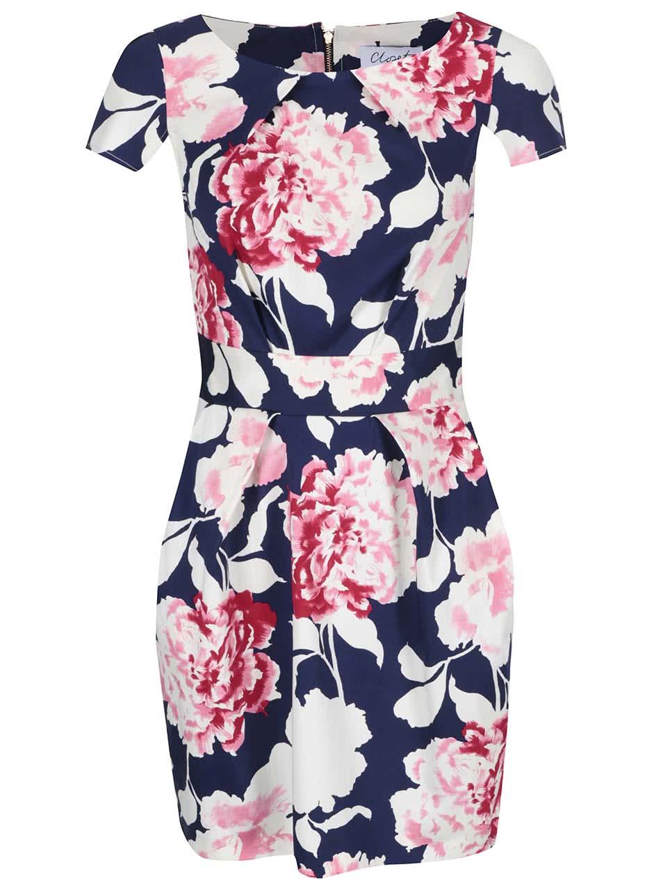 Růžovo-bílo-modré květované šaty Closet  604c82ba56