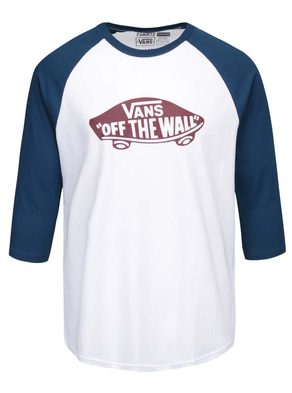 Modro-biele pánske tričko s 3 4 rukávmi a potlačou Vans Raglan  8587ad9d256