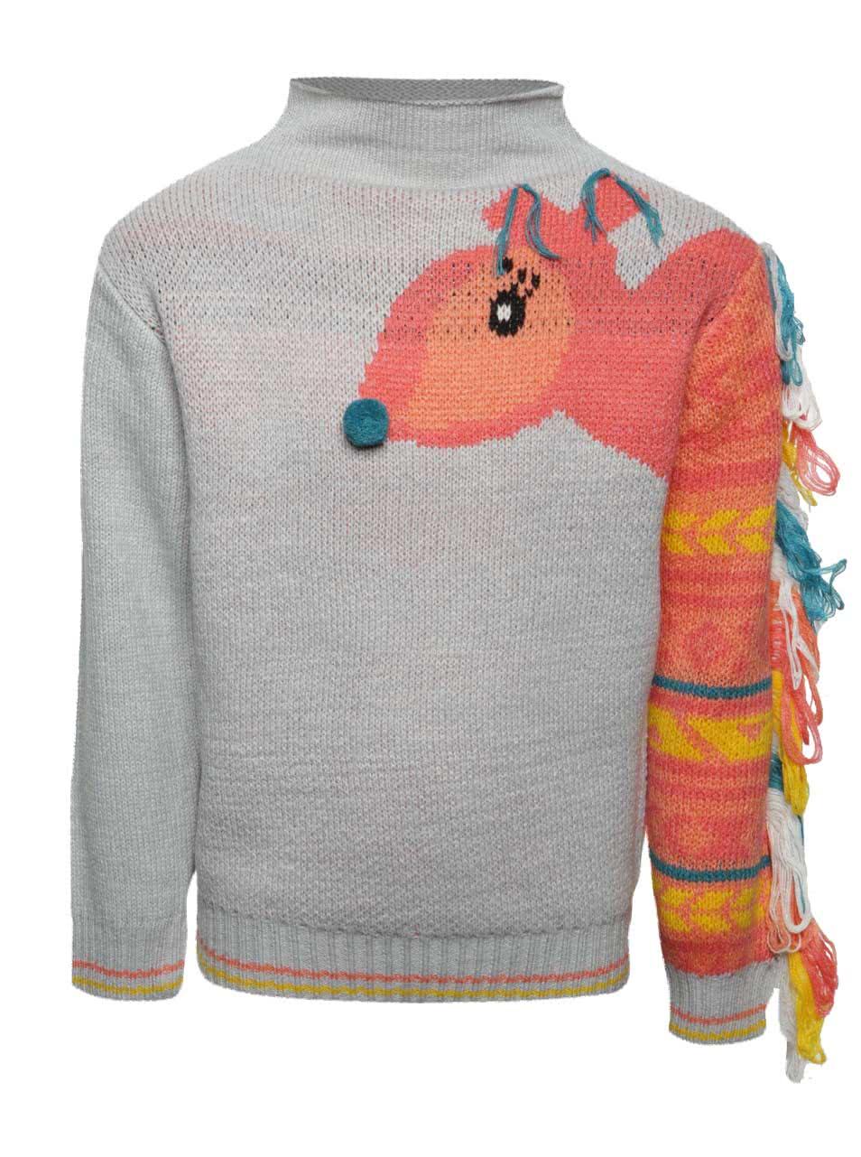 Pulover gri deschis 5.10.15. cu print cu veveriță pentru fete