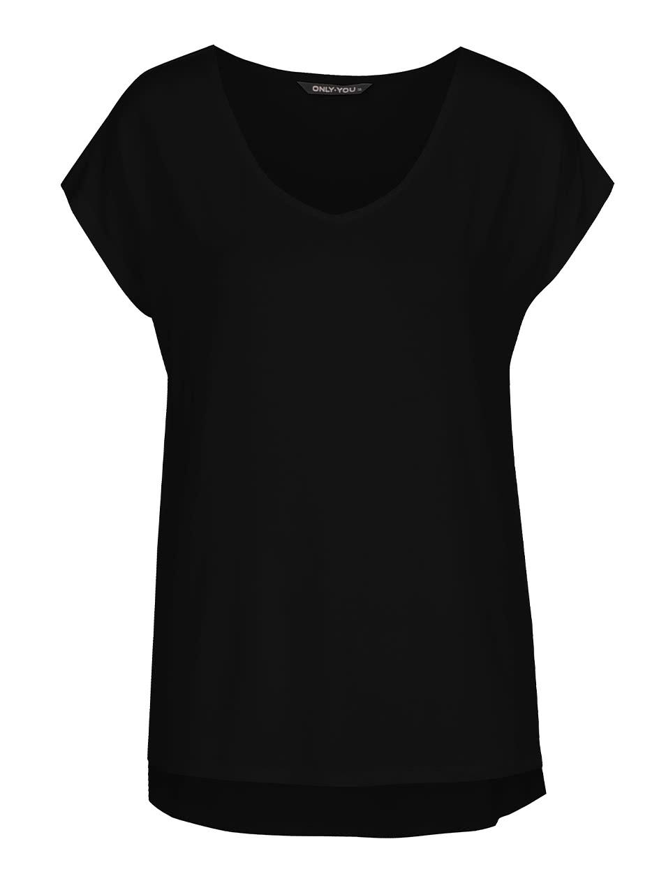 3430a88c4b5 Černé tričko s krátkým rukávem ONLY Prime