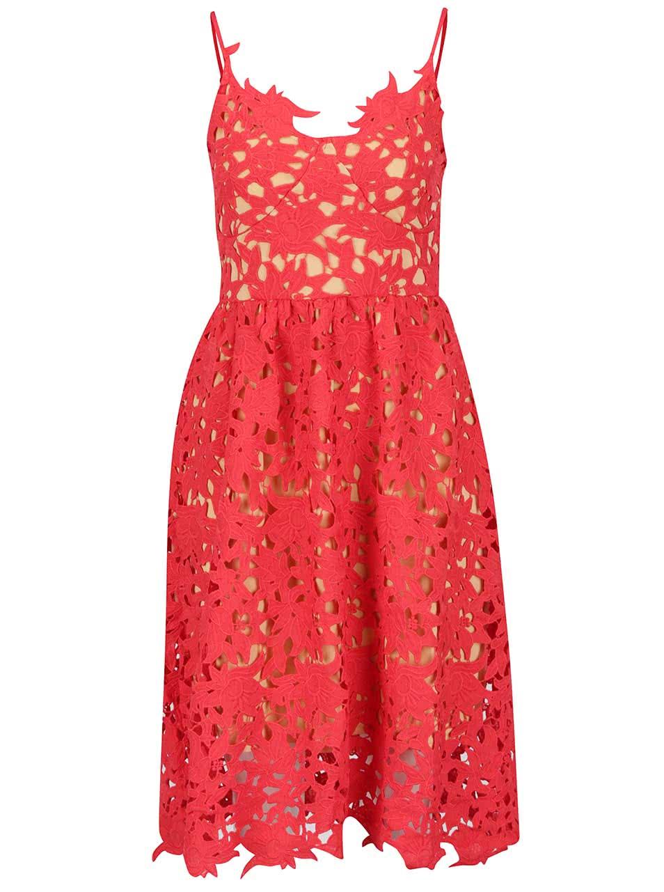 Červené krajkové šaty VERO MODA Beauti  2675967472