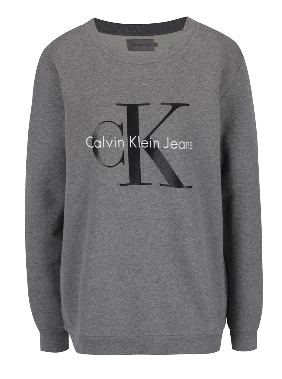 04072aa440 Sivá dámska mikina s potlačou v čiernej farbe Calvin Klein Jeans Crew