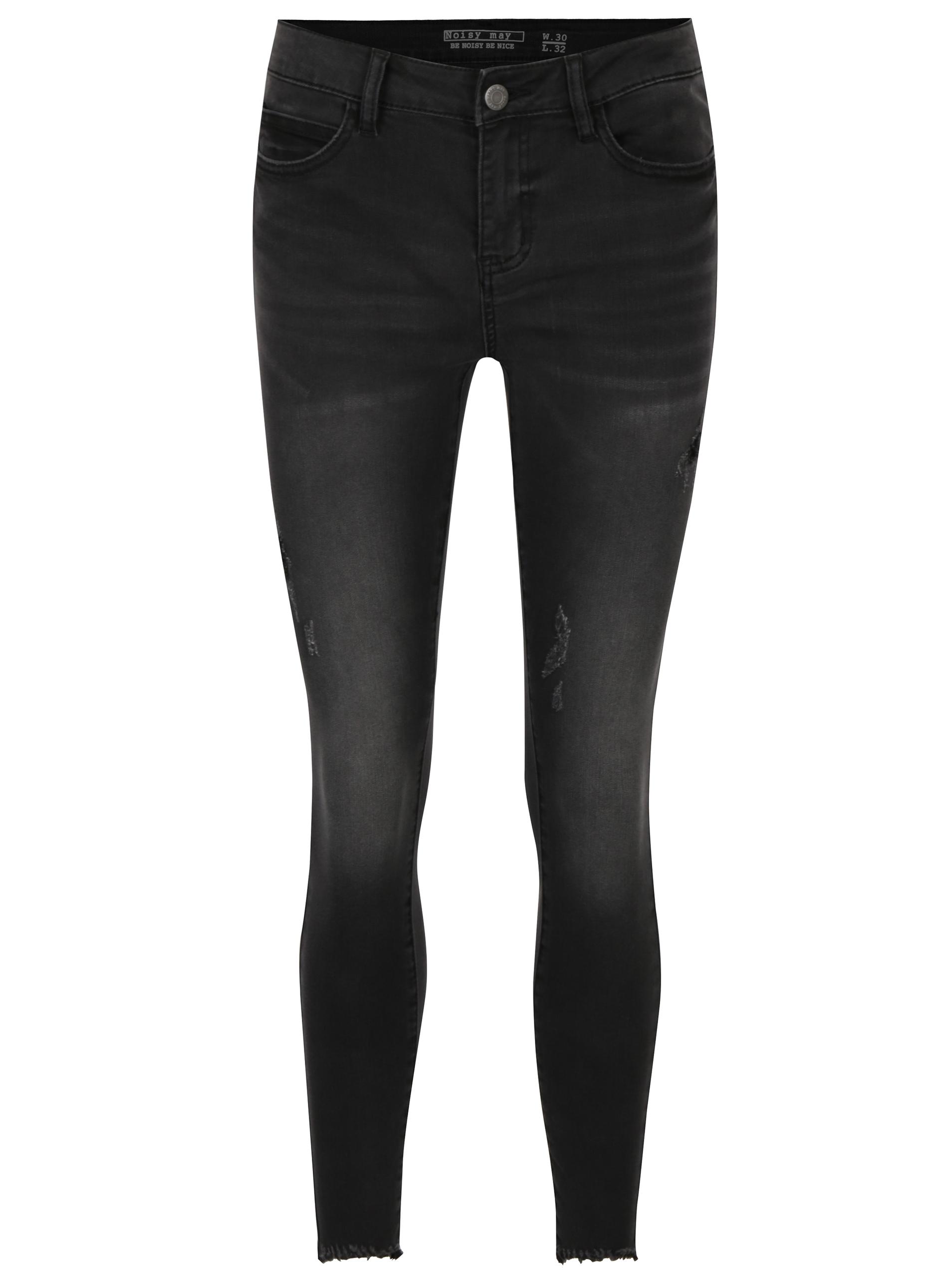 Tmavě šedé skinny džíny s potrhaným efektem Noisy May Lucy  6cd74e0575