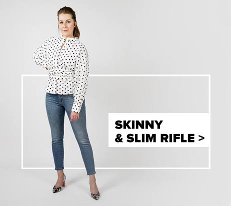 dámske skinny & slim rifle - outfit na postave