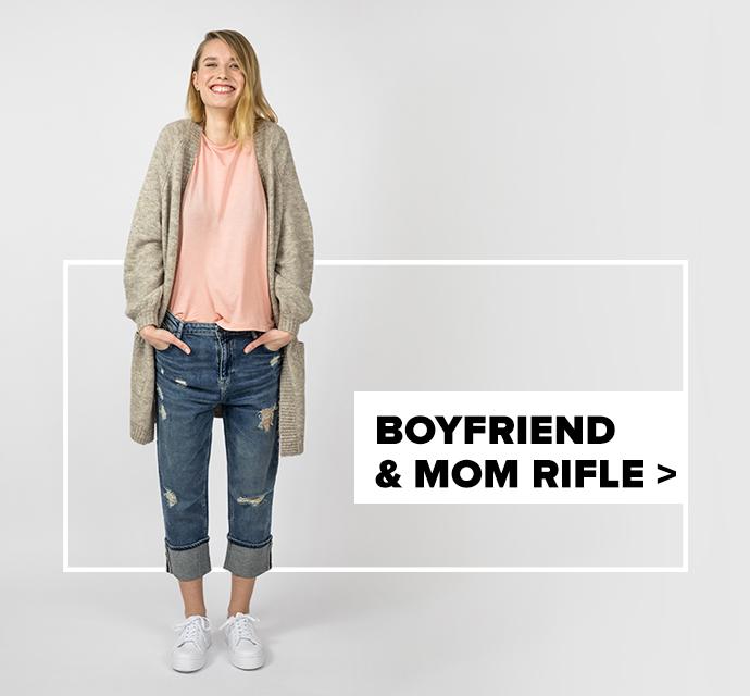 dámske boyfriend & mom rifle - outfit na postave