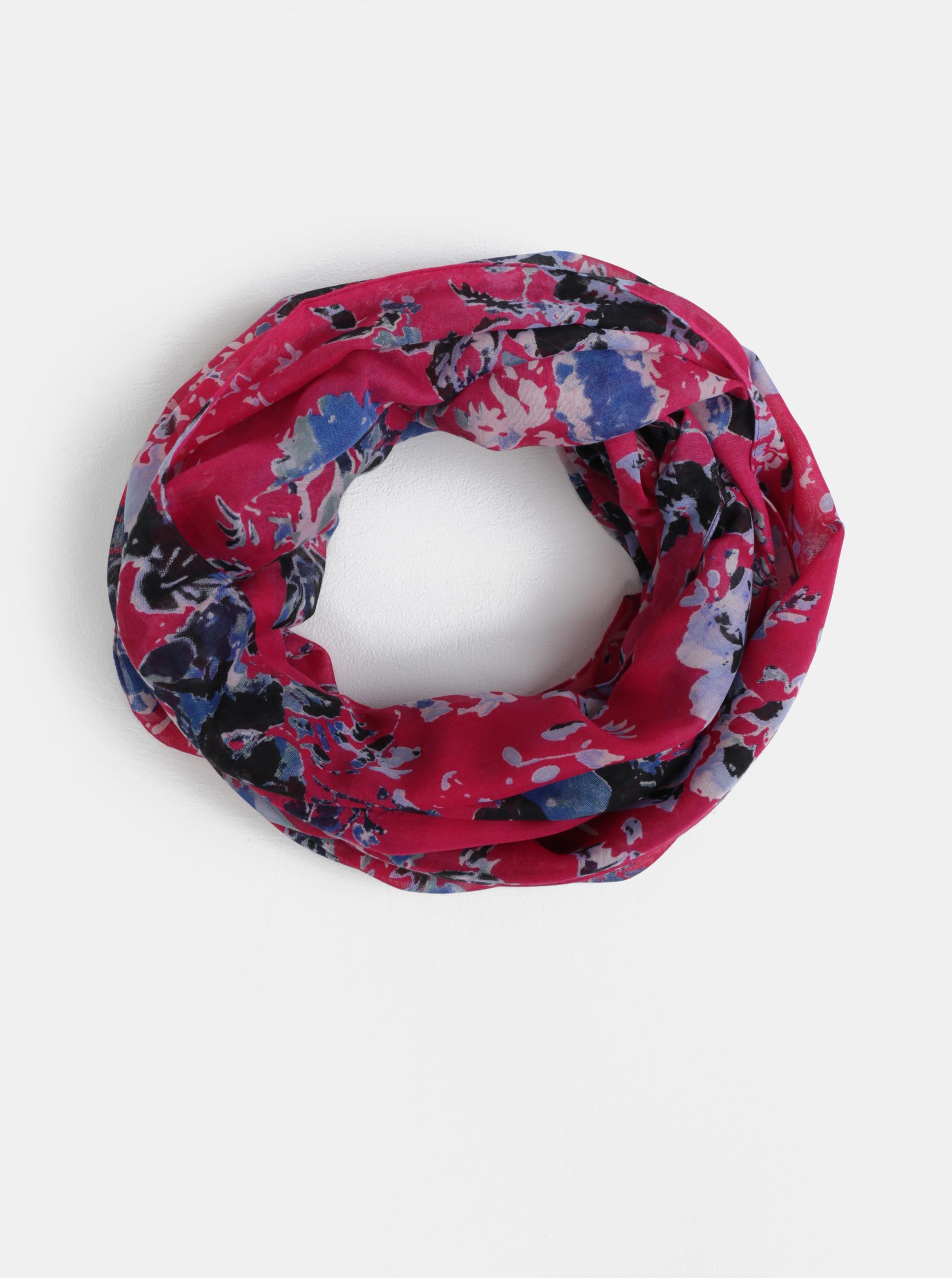 Tmavě růžový květovaný dutý šátek Pieces Dolores  7b8396fb98