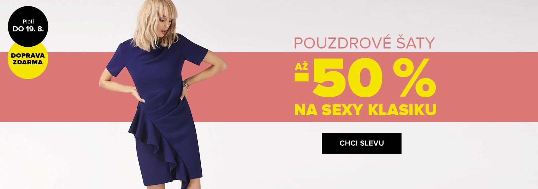 Až 50% sleva na pouzdrové šaty