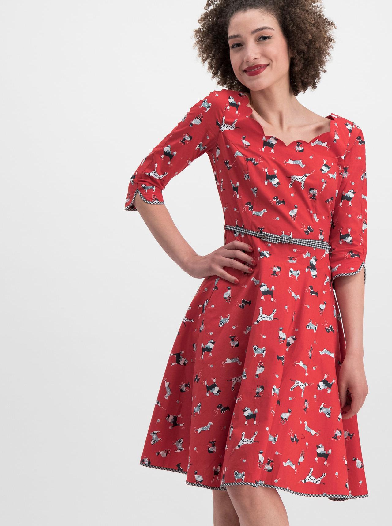 2b930d679e13 Červené vzorované šaty s páskem Blutsgeschwister Swing a Bow